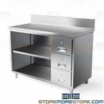 Stainless workbench cabinet with welded steel backsplash designed to prevent fluid and materials from falling behind the workbench open drawer workbench for workshops and warehouses Tarrison galvanized steel worksurface tables co2448bd