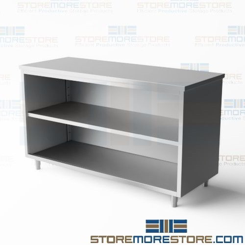 Stainless Base Cabinet Drawers Work Table Backsplash Open Deep - Stainless steel work table with drawers