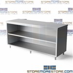 "Stainless table cabinet with pull-out drawers and welded steel backsplash stainless steel workstation constructed for use in workshops hospitals and kitchens open 24"" deep Tarrison work cabinets with welded steel drawers work cabinets"