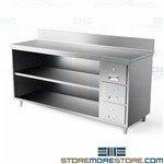 "Stainless table cabinet with welded backsplash designed to prevent fluid and materials from falling behind the workbench open 24"" deep Tarrison work station with all welded stainless steel construction stainless steel workbench cabinet"