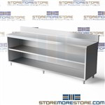 "Stainless open front base cabinet ideal for hospitals workshops and schools all welded steel table top with backsplash designed to prevent fluids and materials from falling behind the work cabinet 30"" deep work table Tarrison steel cabinet"