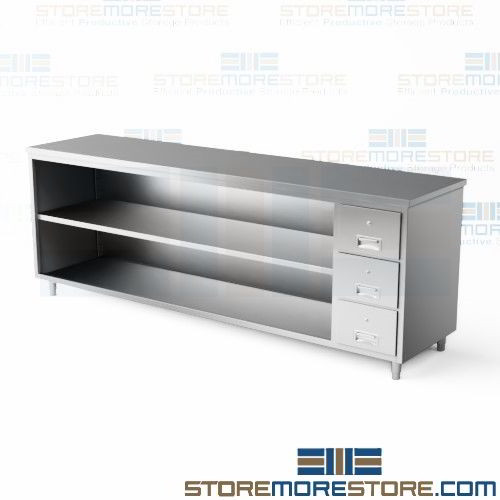 Stainless Cabinet Drawers Table Top Backsplash Open Long - Stainless steel table top shelves