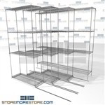 "Quad Deep Lateral Wire Racks four deep shelving units on rails SMS-94-LAT-1436-21-Q overall size is 4772.6 inches wide x 6' 6"" deep x 78 inches high"