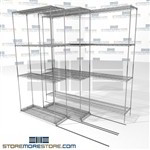 "Triple Deep Mobile Wire Shelves Triple stack rolling office shelving storage SMS-94-LAT-1436-21-T overall size is 3287.4 inches wide x 6' 6"" deep x 78 inches high"