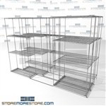"Three Deep Moveable Wire Shelving 4 shelf rolling wire racks automotive supply SMS-94-LAT-1436-32-T overall size is 5484.2 inches wide x 9' 8"" deep x 116 inches high"
