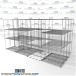 "4 Deep Space Saving Wire Shelving quad deep shelves stuff storage SMS-94-LAT-1436-43-Q overall size is 11063.2 inches wide x 12' 11"" deep x 155 inches high"