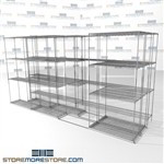 "3 Deep Side To Side Wire Racking canned goods box shelving on rolling wheels SMS-94-LAT-1436-43-T overall size is 7586.8 inches wide x 12' 11"" deep x 155 inches high"