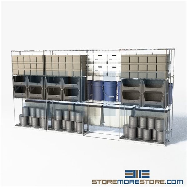 Double Deep Gliding Wire Shelves | Industrial Wire Shelving on ...