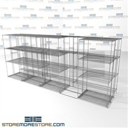 "Triple Deep Moving Wire Racks Trilateral storage shelving for bulk items SMS-94-LAT-1436-54-T overall size is 9779.8 inches wide x 16' 1"" deep x 193 inches high"