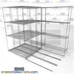 "Four Deep Rolling Wire Racks rolling platform zinc medical wire shelves SMS-94-LAT-1442-21-Q overall size is 5046.6 inches wide x 7' 6"" deep x 90 inches high"