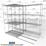 "Three Deep Lateral Wire Shelves tri-store wheels on tracks supply storage SMS-94-LAT-1442-21-T overall size is 3516.8 inches wide x 7' 6"" deep x 90 inches high"