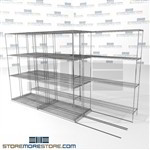 "3 Deep High Capacity Wire Shelving manual push platform warehouse storage SMS-94-LAT-1442-32-T overall size is 5706 inches wide x 11' 2"" deep x 134 inches high"