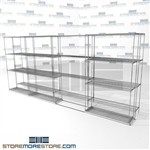"Double Deep Side To Side Wire Racks Hospital rolling wire shelves SMS-94-LAT-1442-43 overall size is 4415.2 inches wide x 14' 11"" deep x 179 inches high"