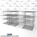"Quad Deep Gliding Wire Shelving back and forth material handling shelves SMS-94-LAT-1442-43-Q overall size is 11674.8 inches wide x 14' 11"" deep x 179 inches high"