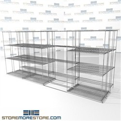 "Triple Deep Space Saving Wire Racking rolling zinc office stuff storage shelving units SMS-94-LAT-1442-43-T overall size is 8045 inches wide x 14' 11"" deep x 179 inches high"