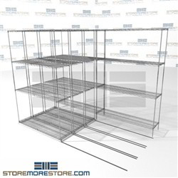 "4 Deep Moveable Wire Racks easy assembly refrigerator zinc shelving SMS-94-LAT-1448-21-Q overall size is 5183.6 inches wide x 8' 6"" deep x 102 inches high"