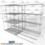 "3 Deep Rolling Wire Shelves triple deep chrome wire shelving sliding track SMS-94-LAT-1448-21-T overall size is 3618.4 inches wide x 8' 6"" deep x 102 inches high"