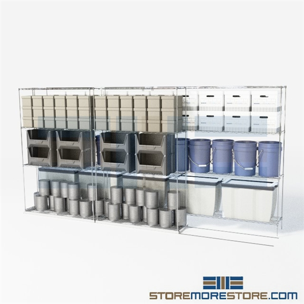 Double Deep High Capacity Wire Racking With Four Shelves (12' 8