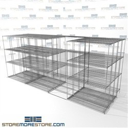 "Four Deep Moving Wire Shelving moving on rails 4 deep zinc restaurant shelves SMS-94-LAT-1448-43-Q overall size is 12065.3 inches wide x 16' 11"" deep x 203 inches high"