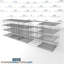 "4 Deep Lateral Wire Racking Quad stacked rolling office shelving storage SMS-94-LAT-1448-54-Q overall size is 15495.8 inches wide x 21' 1"" deep x 253 inches high"