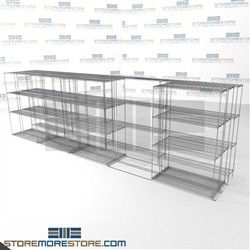 "3 Deep Mobile Wire Racks zinc wire refrigerrater shelves on tracks SMS-94-LAT-1448-54-T overall size is 10702 inches wide x 21' 1"" deep x 253 inches high"