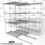 "Triple Deep Moveable Wire Shelves canned good food racks moving on tracks SMS-94-LAT-1836-21-T overall size is 3366.2 inches wide x 6' 6"" deep x 78 inches high"