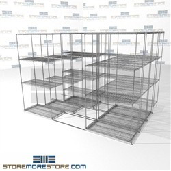 "Four Deep Space Saving Wire Shelves canned good shelving racks on rolling wheels SMS-94-LAT-1836-32-Q overall size is 8158.5 inches wide x 9' 8"" deep x 116 inches high"