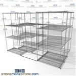 "Three Deep Side To Side Wire Shelving all sizes available tools and equipment storage SMS-94-LAT-1836-32-T overall size is 5623.4 inches wide x 9' 8"" deep x 116 inches high"