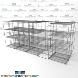"Triple Deep Lateral Wire Racks three Deep Sliding zinc wire Racks SMS-94-LAT-1836-54-T overall size is 10060 inches wide x 16' 1"" deep x 193 inches high"