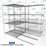 "Three Deep High Capacity Wire Shelves thriple Depth moveable wire shelving SMS-94-LAT-1842-21-T overall size is 3585.4 inches wide x 7' 6"" deep x 90 inches high"