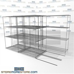 "3 Deep Space Saving Wire Shelving 4 wire shelves triple deep stuff storage SMS-94-LAT-1842-32-T overall size is 5862 inches wide x 11' 2"" deep x 134 inches high"