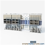 "Double Deep Moving Wire Racks 4 shelve wire racks on tracks SMS-94-LAT-1842-43 overall size is 4528.9 inches wide x 14' 11"" deep x 179 inches high"