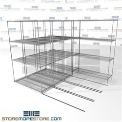 "4 Deep Side To Side Wire Racks high density rolling food storage shelves SMS-94-LAT-1848-21-Q overall size is 5270.3 inches wide x 8' 6"" deep x 102 inches high"