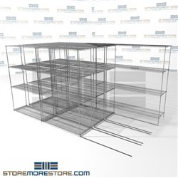 "Quad Deep Moving Wire Shelves Studio film shelves rolling carriage on wheels SMS-94-LAT-1848-32-Q overall size is 11142.2 inches wide x 12' 8"" deep x 152 inches high"