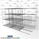 "Triple Deep Gliding Wire Shelving zinc hospital rolling wire storage shelves SMS-94-LAT-1848-32-T overall size is 7256.4 inches wide x 12' 8"" deep x 152 inches high"