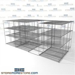 "Four Deep Lateral Wire Shelving refrigerator shelves zinc wire racks on tracks SMS-94-LAT-1848-43-Q overall size is 12332.5 inches wide x 16' 11"" deep x 203 inches high"