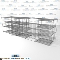 "3 Deep Moveable Wire Racks zinc lateral wire shelving on wheels SMS-94-LAT-1848-54-T overall size is 10962.4 inches wide x 21' 1"" deep x 253 inches high"