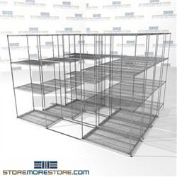 "Four Deep Sliding Wire Shelves quad-lateral box storage chrome wire racks SMS-94-LAT-2136-32-Q overall size is 8386.5 inches wide x 9' 8"" deep x 116 inches high"