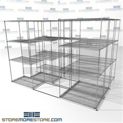 "Three Deep Moving Wire Shelving Stuff storage 4 wire shelving racks SMS-94-LAT-2136-32-T overall size is 5780.6 inches wide x 9' 8"" deep x 116 inches high"