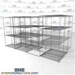"3 Deep Lateral Wire Racking rolling wire shelves with 4 levels SMS-94-LAT-2136-43-T overall size is 8147.3 inches wide x 12' 11"" deep x 155 inches high"