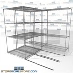 "Three Deep Space Saving Wire Shelves High Density tool equipment storage SMS-94-LAT-2142-21-T overall size is 3700.6 inches wide x 7' 6"" deep x 90 inches high"