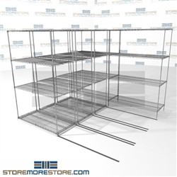 "4 Deep Moving Wire Racks zinc wire shelves for medical use racks on rails SMS-94-LAT-2148-21-Q overall size is 5436.3 inches wide x 8' 6"" deep x 102 inches high"