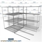 "3 Deep Gliding Wire Shelves wire moving shelving racks on tracks SMS-94-LAT-2148-21-T overall size is 3811.4 inches wide x 8' 6"" deep x 102 inches high"