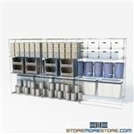 "Double Deep Sliding Wire Racking Stuff storage electronic shelves with wheels SMS-94-LAT-2148-32 overall size is 3578.7 inches wide x 12' 8"" deep x 152 inches high"