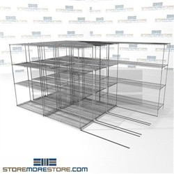 "Quad Deep Lateral Wire Shelves 4 shelf unit moving side to side on tracks SMS-94-LAT-2148-32-Q overall size is 9100.9 inches wide x 12' 8"" deep x 152 inches high"
