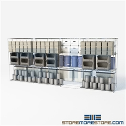 "Two Deep Rolling Wire Racks military equipment storage racks on tracks SMS-94-LAT-2148-43 overall size is 4881.2 inches wide x 16' 11"" deep x 203 inches high"
