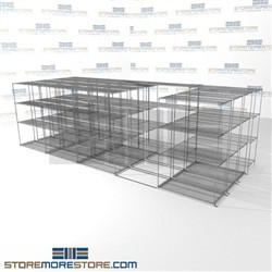 "4 Deep Space Saving Wire Racking four shelves with high storage capacity SMS-94-LAT-2148-54-Q overall size is 16249.8 inches wide x 21' 1"" deep x 253 inches high"