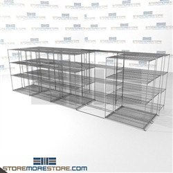 "3 Deep Side To Side Wire Racks general storage mobile shelves wire racks SMS-94-LAT-2148-54-T overall size is 11217.2 inches wide x 21' 1"" deep x 253 inches high"