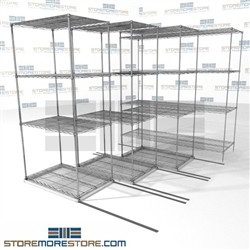 "Quad Deep Sliding Wire Racks bulk box storge rolling shelves four deep SMS-94-LAT-2436-21-Q overall size is 5157.7 inches wide x 6' 6"" deep x 78 inches high"