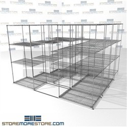 "Four Deep Rolling Wire Shelves automotive stuff storage for tools on rails SMS-94-LAT-2436-32-Q overall size is 8601.9 inches wide x 9' 8"" deep x 116 inches high"